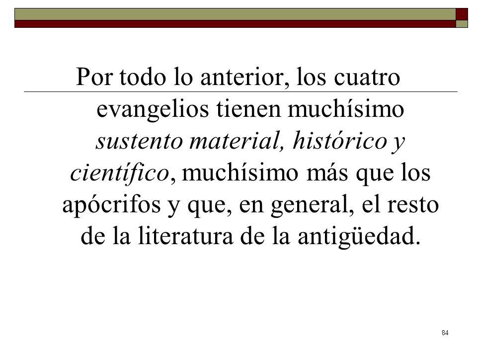 Por todo lo anterior, los cuatro evangelios tienen muchísimo sustento material, histórico y científico, muchísimo más que los apócrifos y que, en general, el resto de la literatura de la antigüedad.