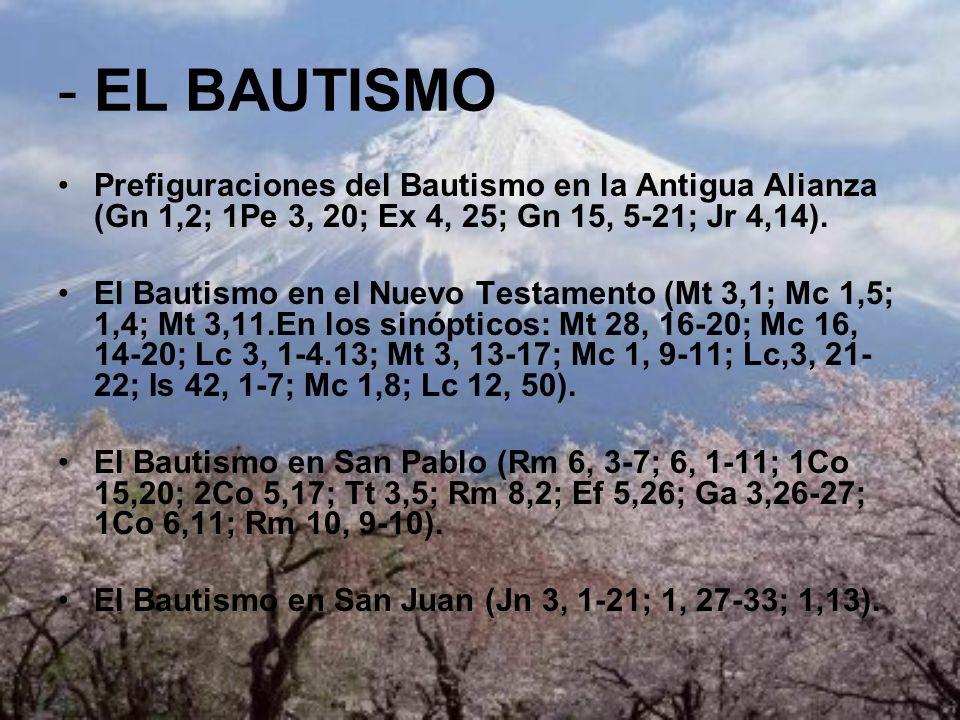 - EL BAUTISMOPrefiguraciones del Bautismo en la Antigua Alianza (Gn 1,2; 1Pe 3, 20; Ex 4, 25; Gn 15, 5-21; Jr 4,14).