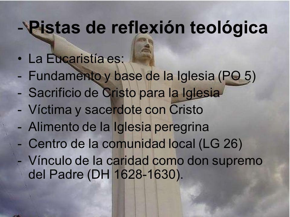 - Pistas de reflexión teológica