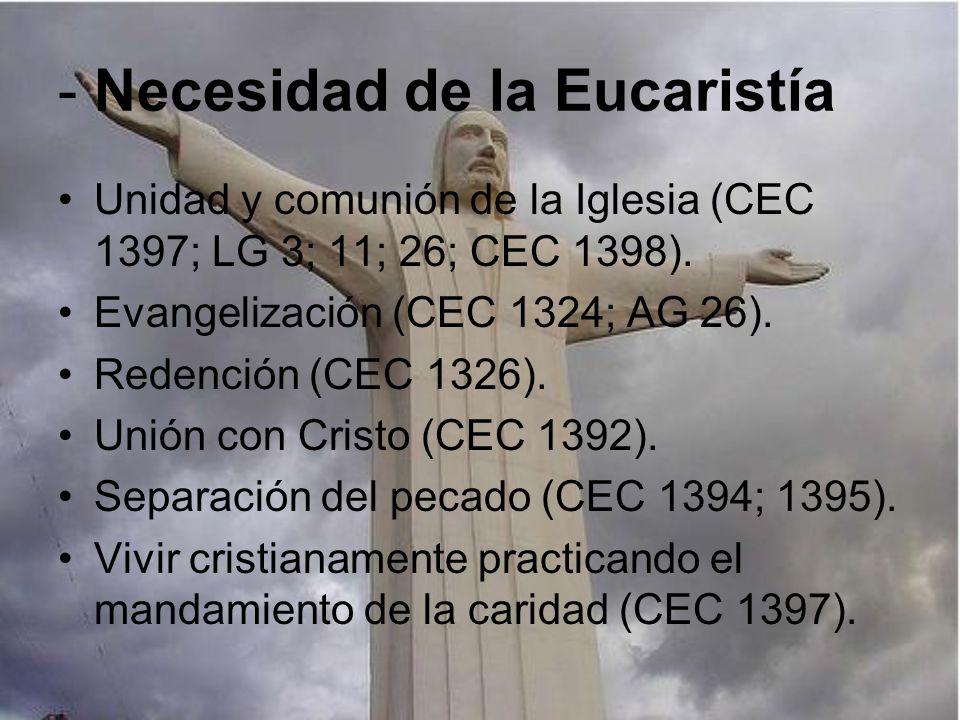 - Necesidad de la Eucaristía
