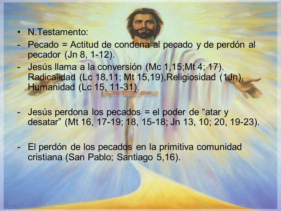 N.Testamento: Pecado = Actitud de condena al pecado y de perdón al pecador (Jn 8, 1-12).