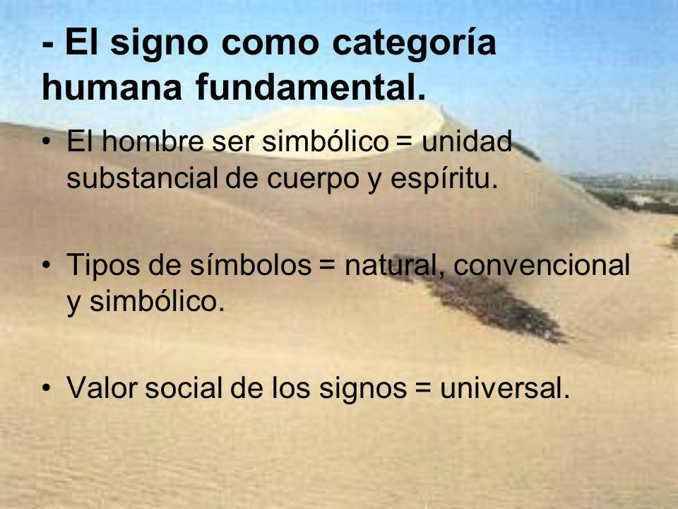 - El signo como categoría humana fundamental.
