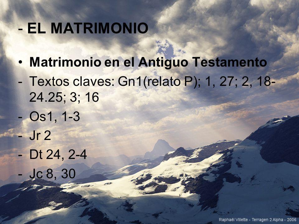 - EL MATRIMONIO Matrimonio en el Antiguo Testamento