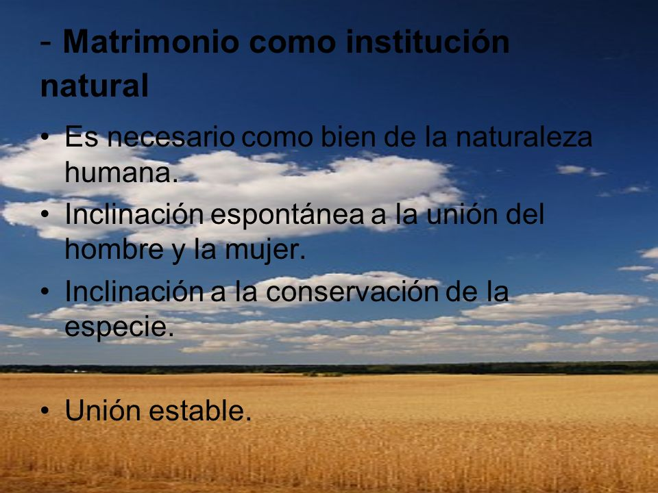 - Matrimonio como institución natural