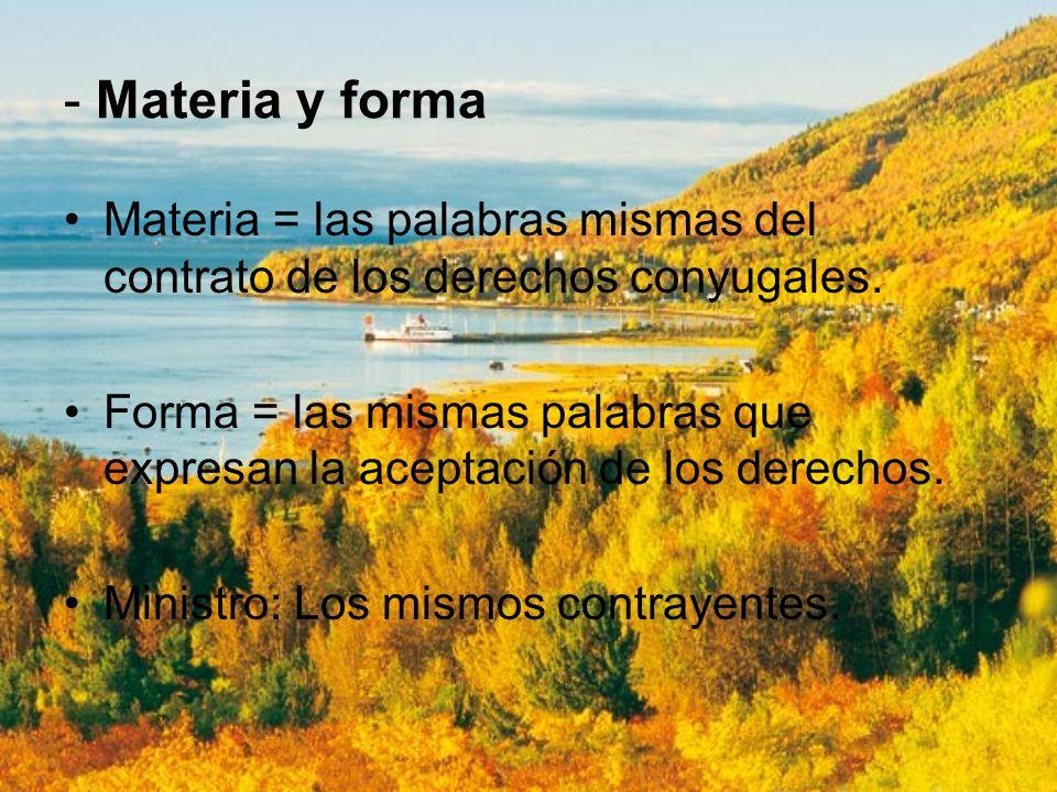 - Materia y forma Materia = las palabras mismas del contrato de los derechos conyugales.
