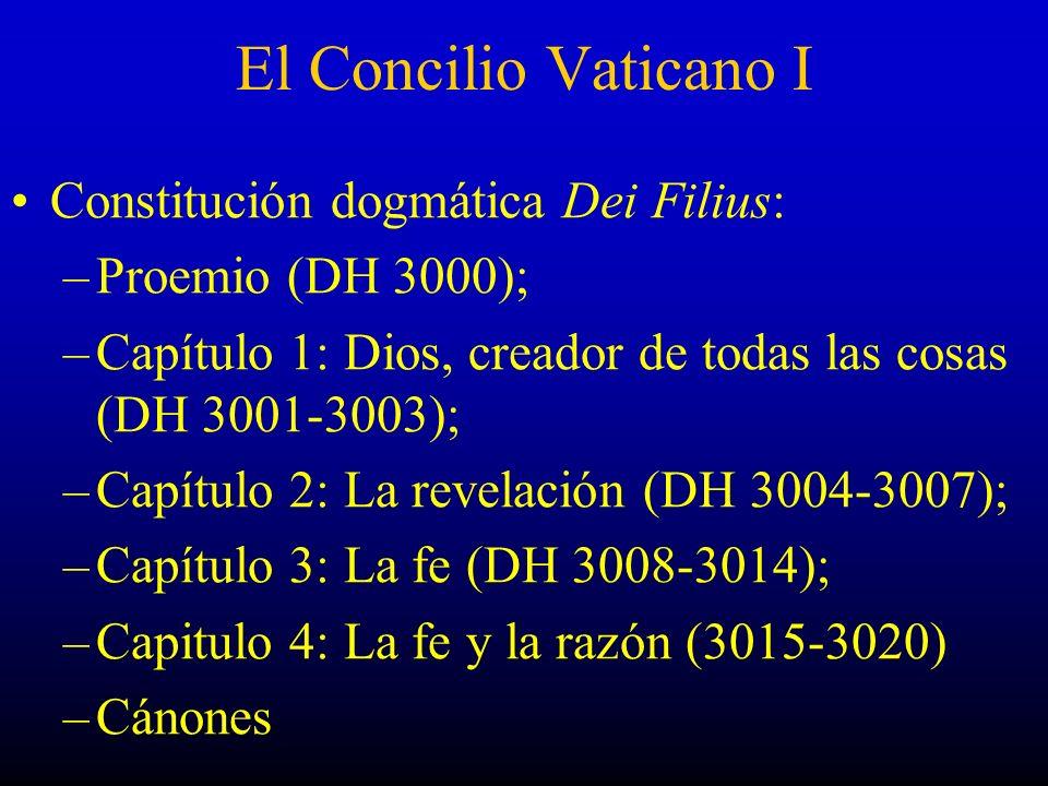 El Concilio Vaticano I Constitución dogmática Dei Filius: