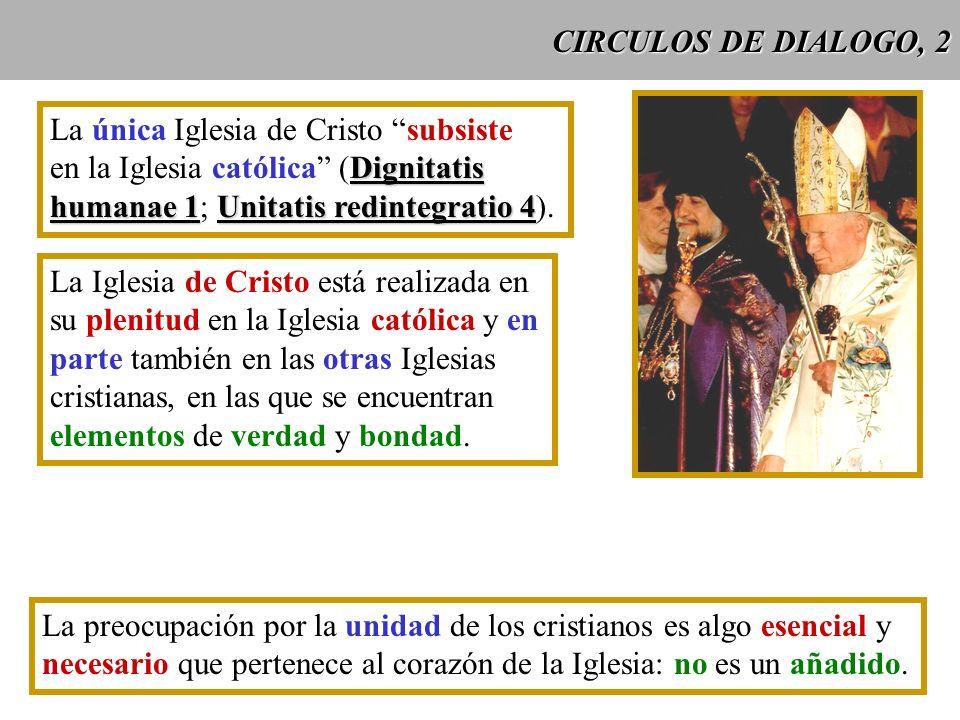 CIRCULOS DE DIALOGO, 2 La única Iglesia de Cristo subsiste. en la Iglesia católica (Dignitatis. humanae 1; Unitatis redintegratio 4).