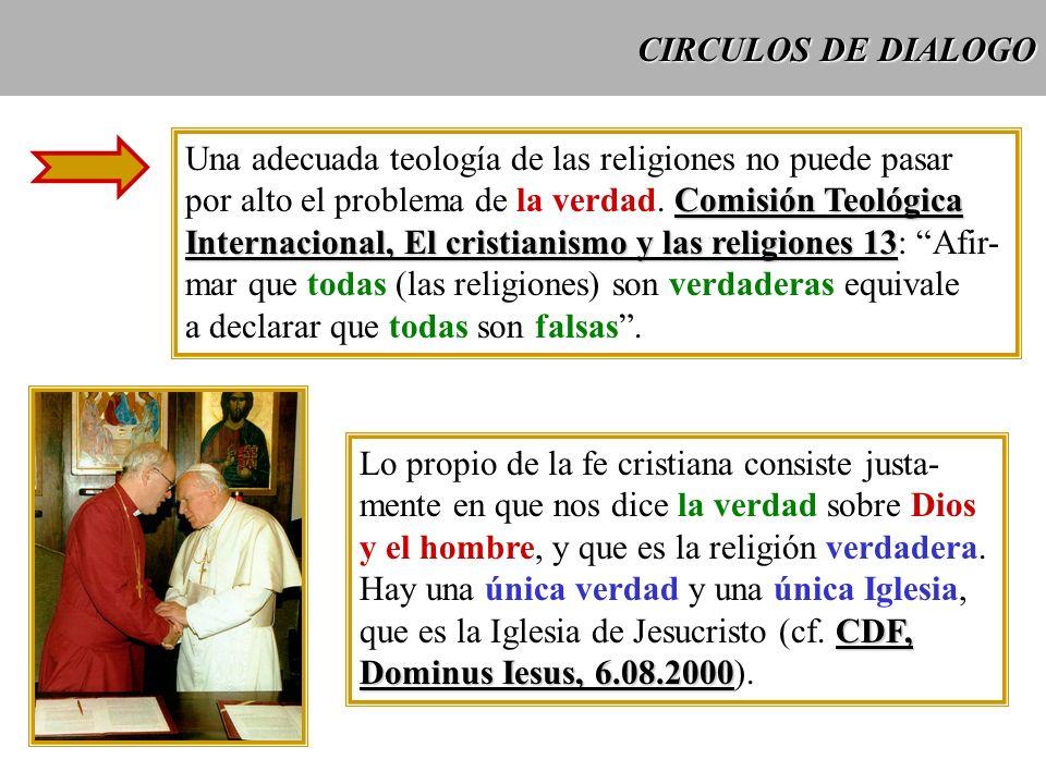 CIRCULOS DE DIALOGO Una adecuada teología de las religiones no puede pasar. por alto el problema de la verdad. Comisión Teológica.