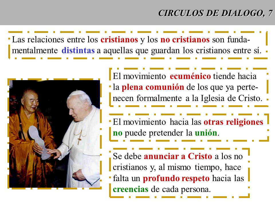 CIRCULOS DE DIALOGO, 7 Las relaciones entre los cristianos y los no cristianos son funda-