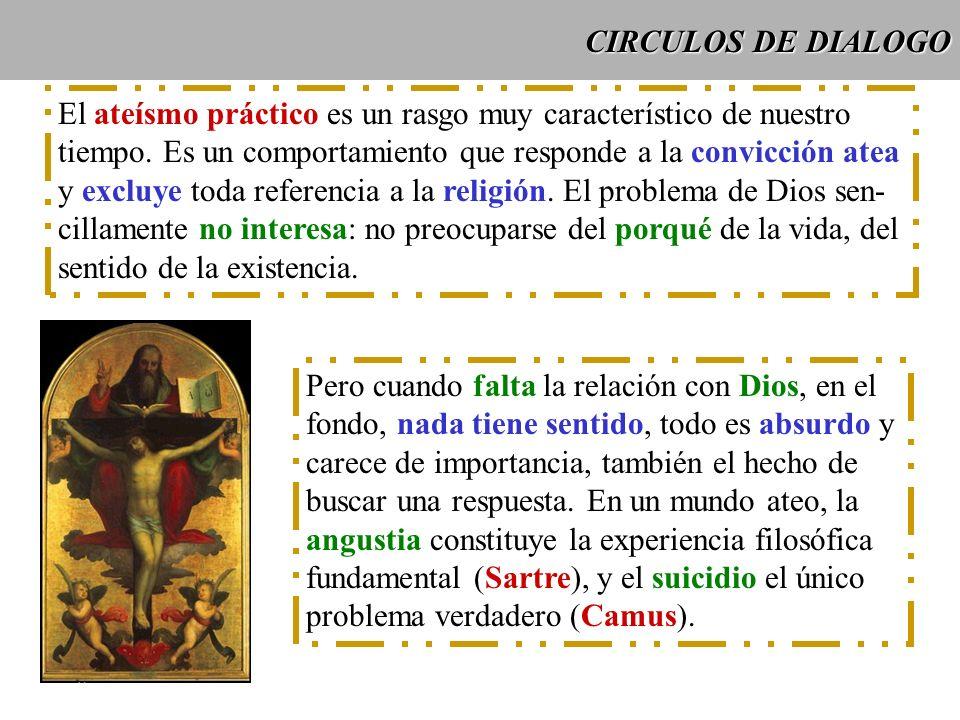 CIRCULOS DE DIALOGO El ateísmo práctico es un rasgo muy característico de nuestro. tiempo. Es un comportamiento que responde a la convicción atea.