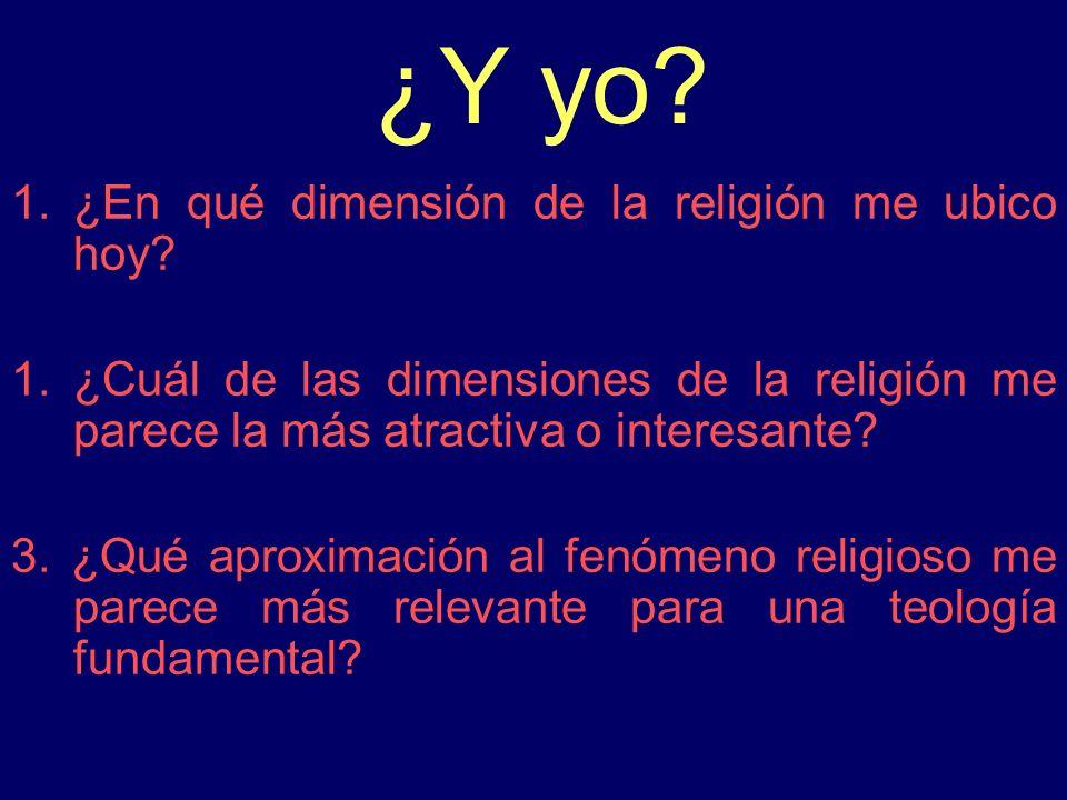 ¿Y yo ¿En qué dimensión de la religión me ubico hoy