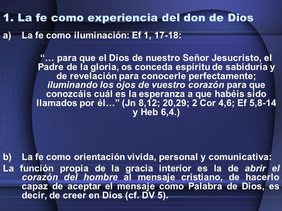 1. La fe como experiencia del don de Dios
