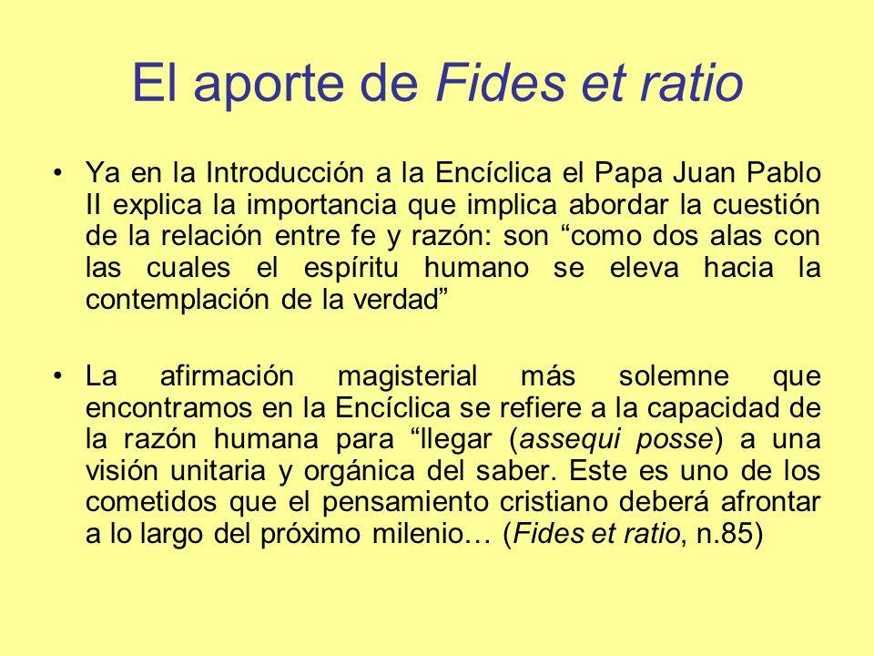 El aporte de Fides et ratio