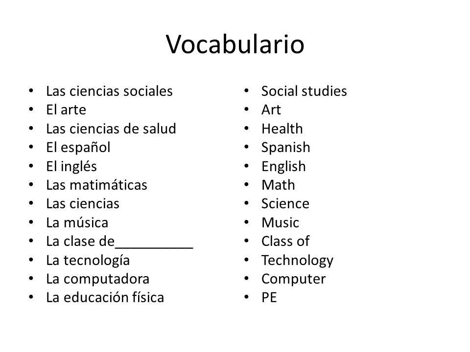 Vocabulario Las ciencias sociales El arte Las ciencias de salud