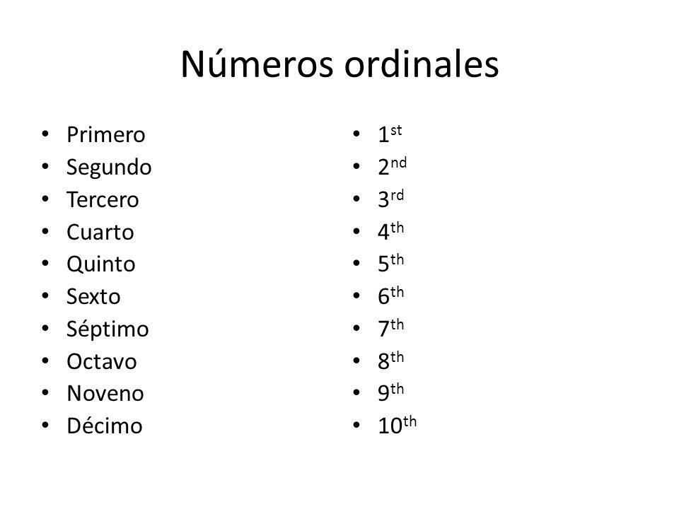 Números ordinales Primero Segundo Tercero Cuarto Quinto Sexto Séptimo
