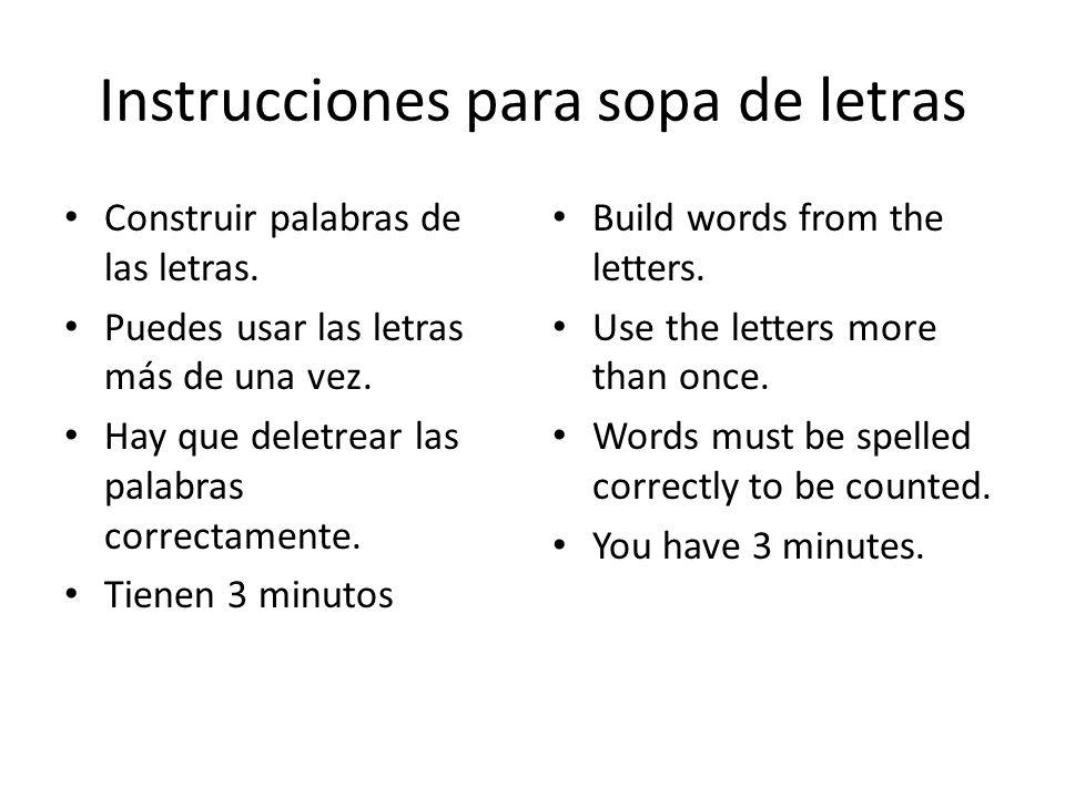 Instrucciones para sopa de letras