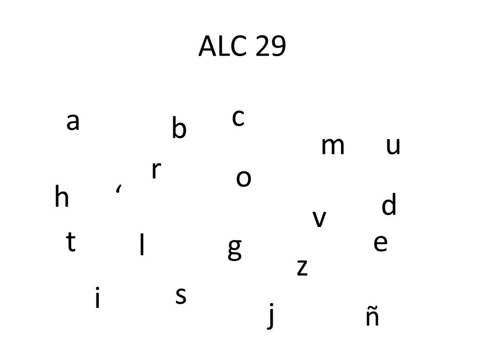 ALC 29 c a b m u r o h ' d v t e l g z s i j ñ
