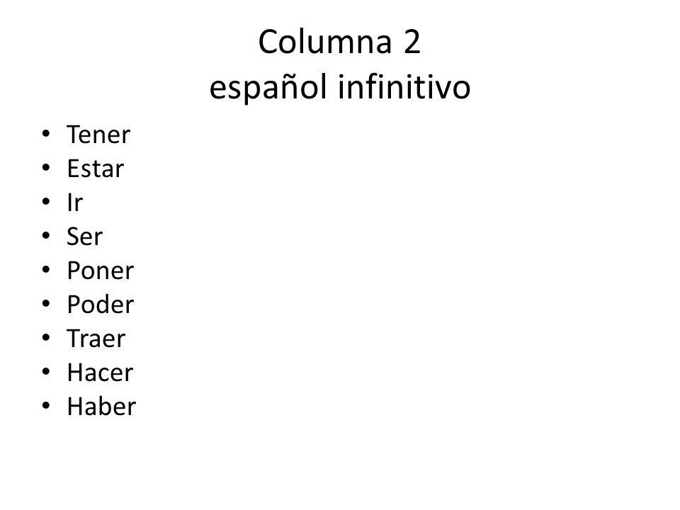 Columna 2 español infinitivo