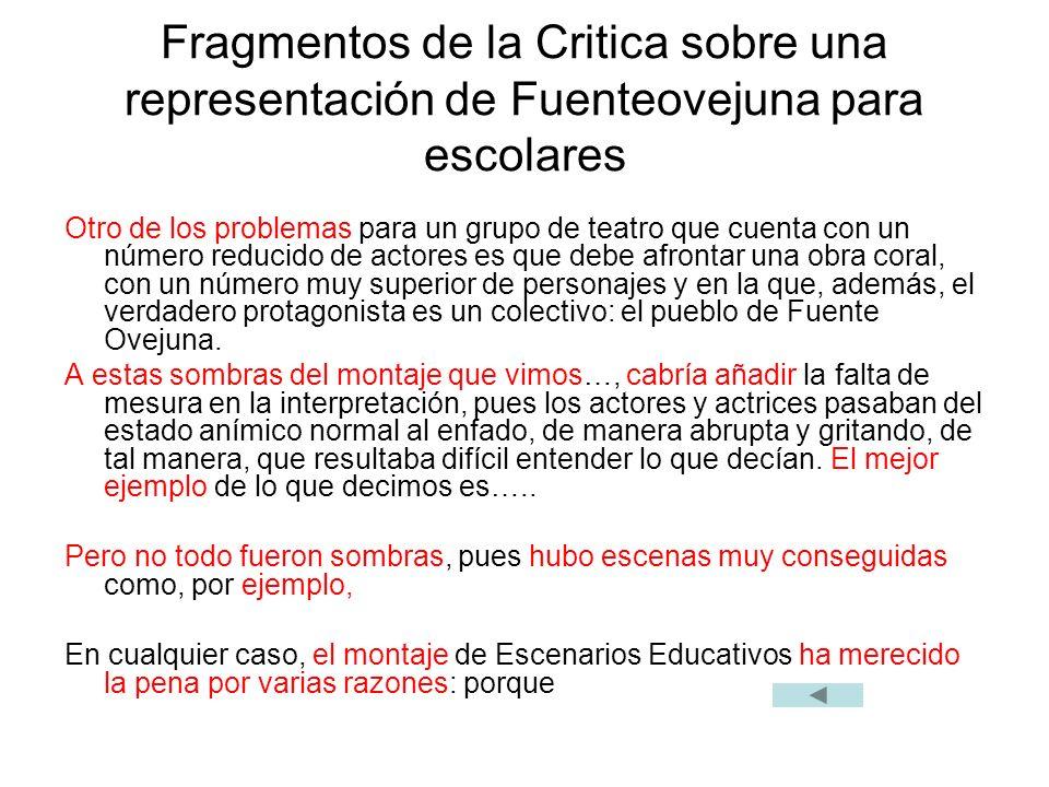 Fragmentos de la Critica sobre una representación de Fuenteovejuna para escolares