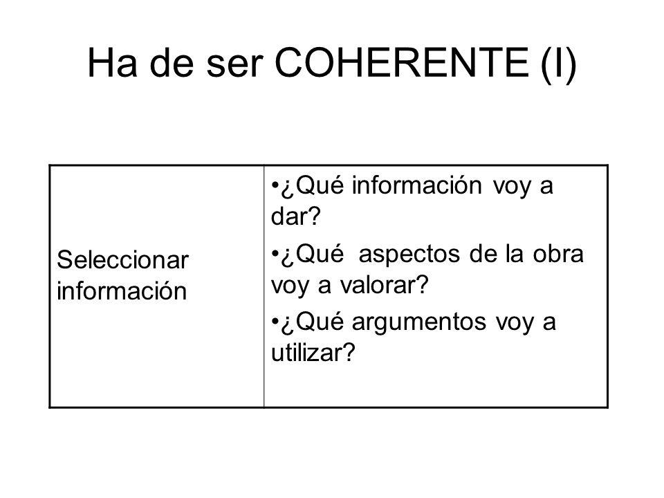 Ha de ser COHERENTE (I) ¿Qué información voy a dar