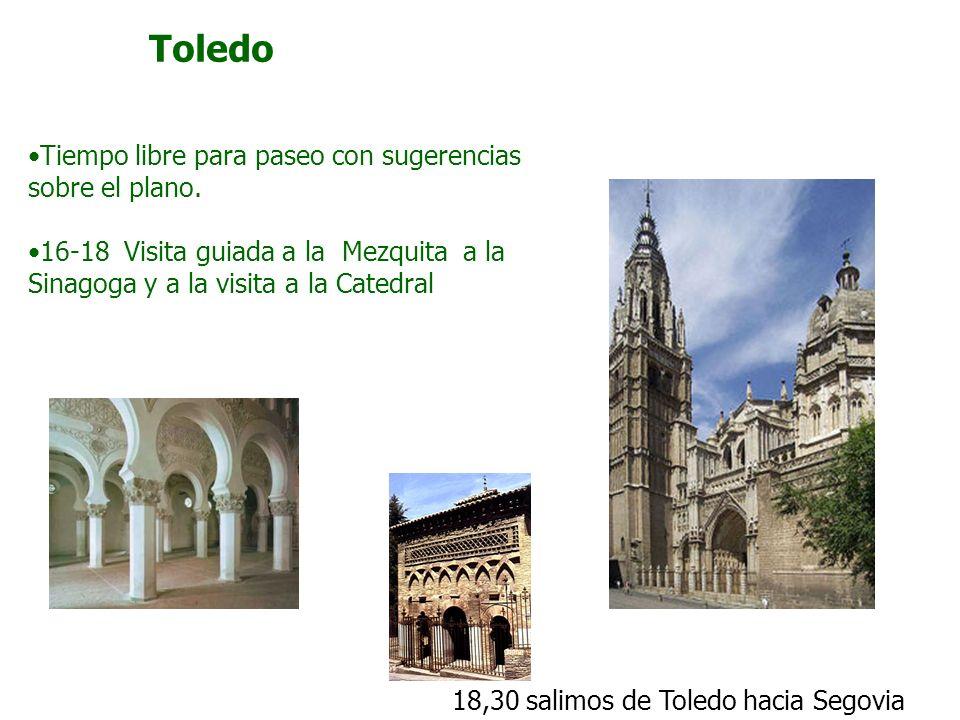 Toledo Tiempo libre para paseo con sugerencias sobre el plano.