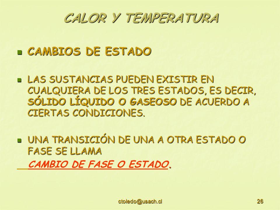 CALOR Y TEMPERATURA CAMBIOS DE ESTADO