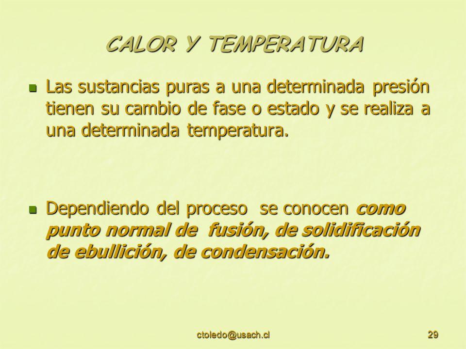 CALOR Y TEMPERATURA Las sustancias puras a una determinada presión tienen su cambio de fase o estado y se realiza a una determinada temperatura.