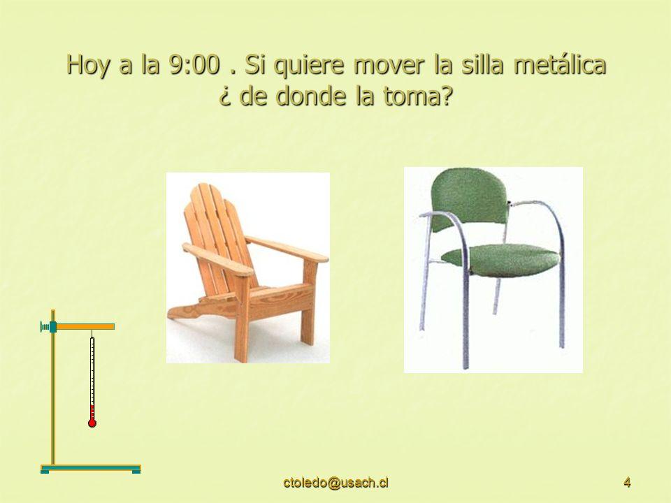 Hoy a la 9:00 . Si quiere mover la silla metálica ¿ de donde la toma
