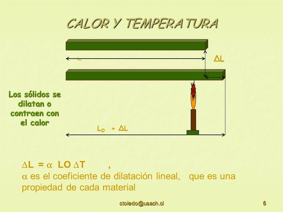 Los sólidos se dilatan o contraen con el calor