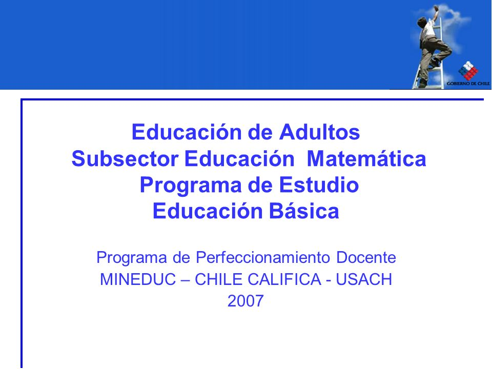 Educación de Adultos Subsector Educación Matemática Programa de Estudio Educación Básica