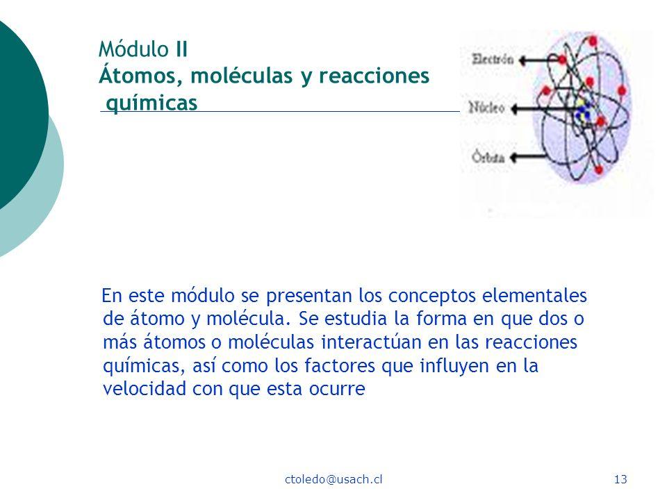 Módulo II Átomos, moléculas y reacciones químicas
