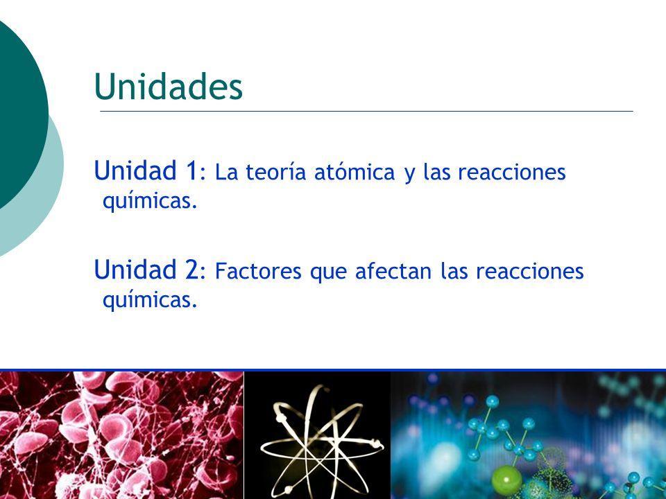 Unidades Unidad 1: La teoría atómica y las reacciones químicas.