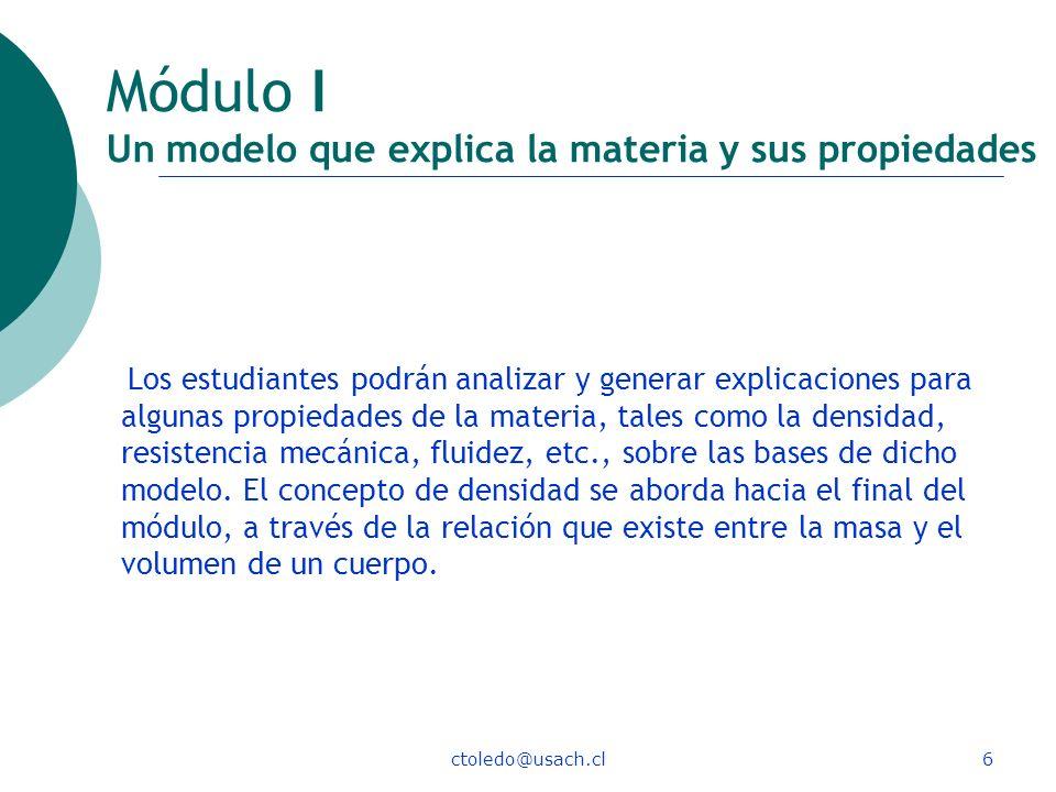 Módulo I Un modelo que explica la materia y sus propiedades