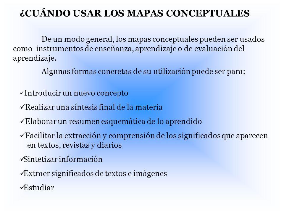 ¿CUÁNDO USAR LOS MAPAS CONCEPTUALES