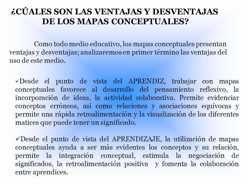 ¿CÚALES SON LAS VENTAJAS Y DESVENTAJAS DE LOS MAPAS CONCEPTUALES