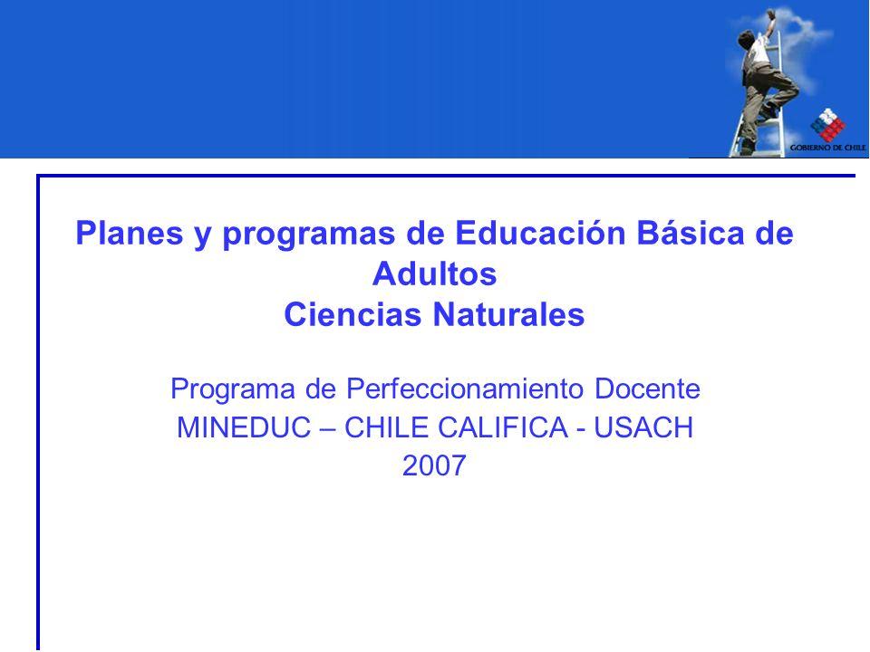 Planes y programas de Educación Básica de Adultos Ciencias Naturales