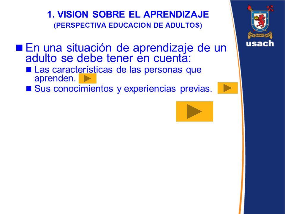 1. VISION SOBRE EL APRENDIZAJE (PERSPECTIVA EDUCACION DE ADULTOS)