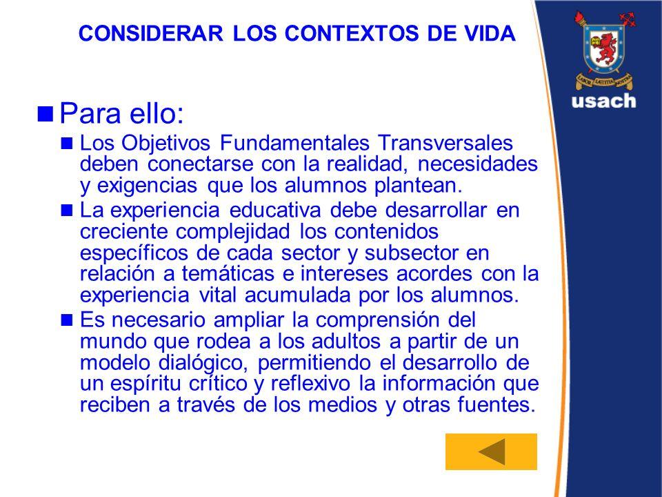 CONSIDERAR LOS CONTEXTOS DE VIDA