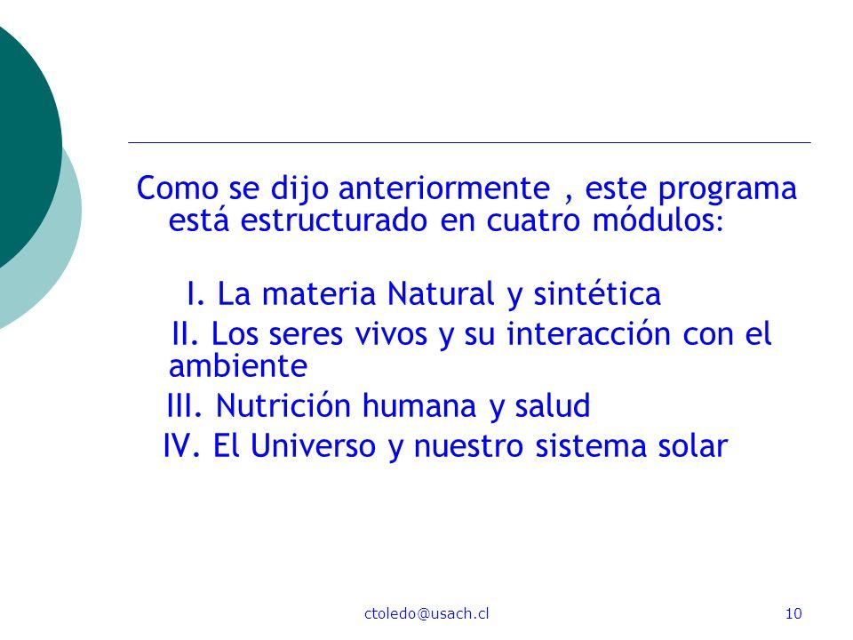 I. La materia Natural y sintética