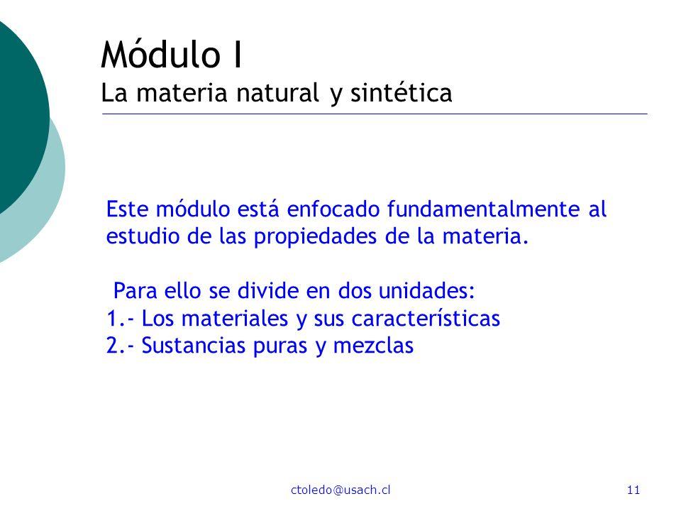 Módulo I La materia natural y sintética