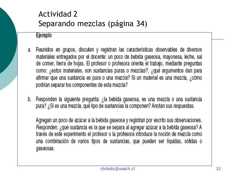 Actividad 2 Separando mezclas (página 34)