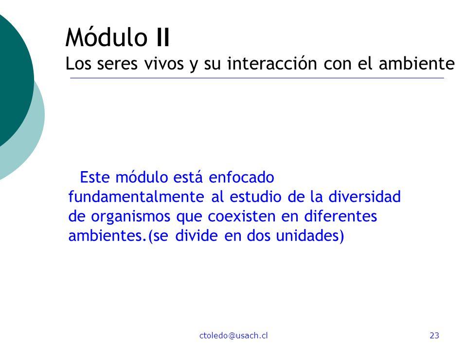 Módulo II Los seres vivos y su interacción con el ambiente