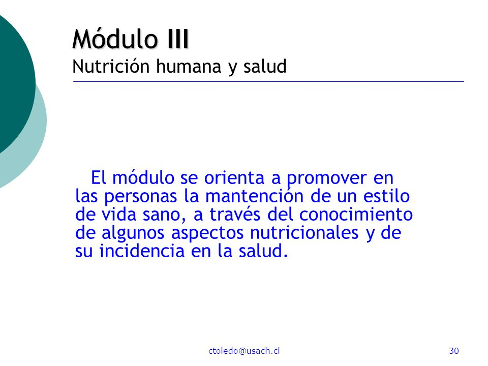 Módulo III Nutrición humana y salud