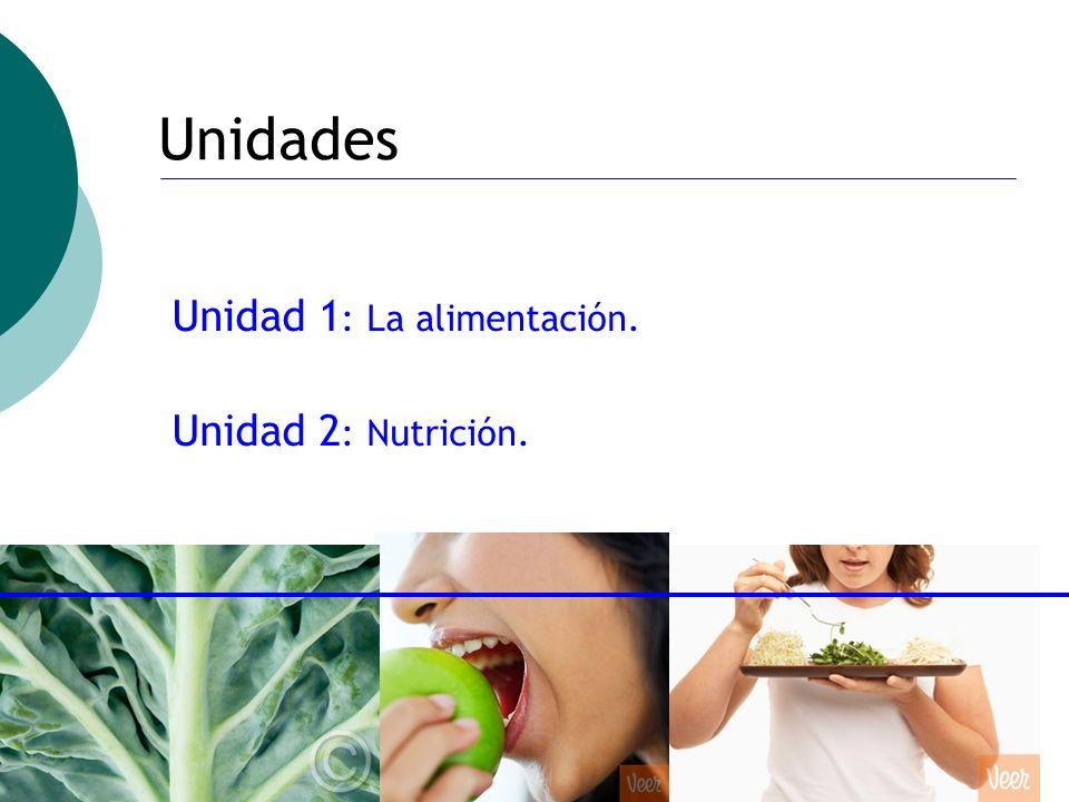 Unidades Unidad 1: La alimentación. Unidad 2: Nutrición.