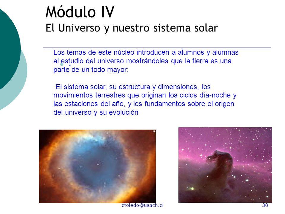 Módulo IV El Universo y nuestro sistema solar