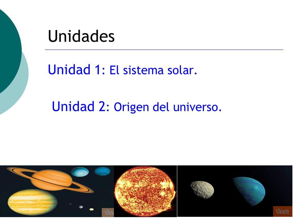 Unidades Unidad 1: El sistema solar. Unidad 2: Origen del universo.