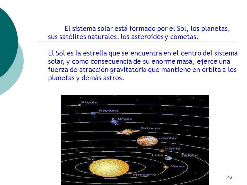 El sistema solar está formado por el Sol, los planetas, sus satélites naturales, los asteroides y cometas.