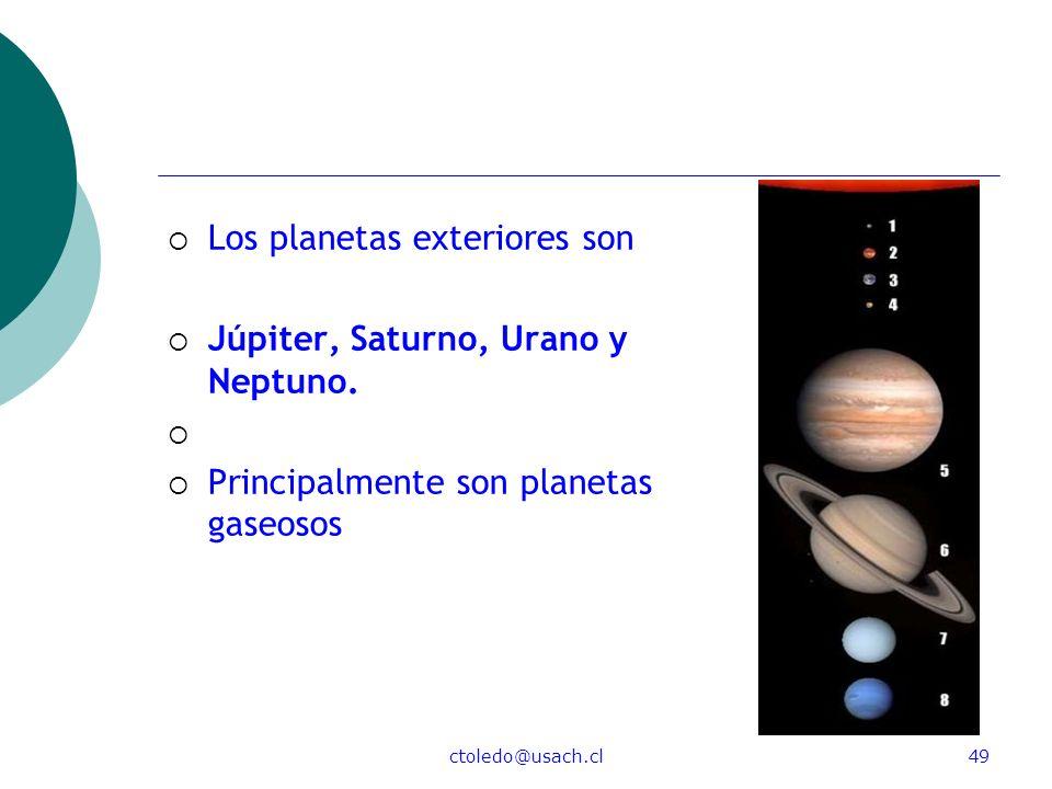 Los planetas exteriores son Júpiter, Saturno, Urano y Neptuno.