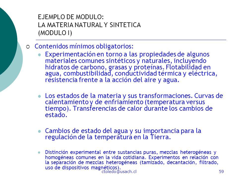 EJEMPLO DE MODULO: LA MATERIA NATURAL Y SINTETICA (MODULO I)