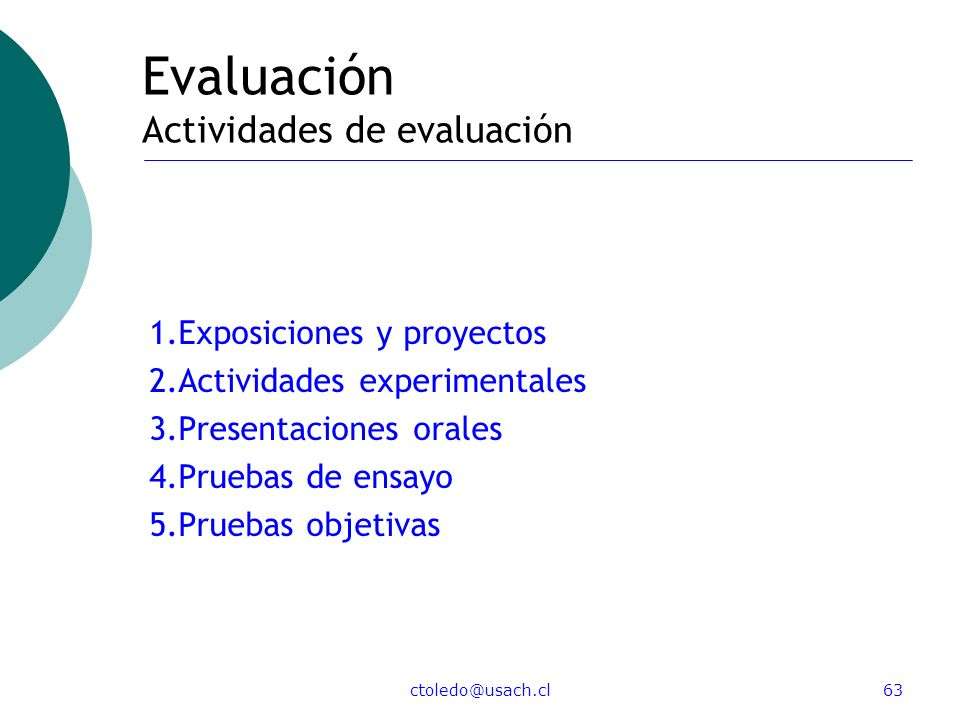 Evaluación Actividades de evaluación